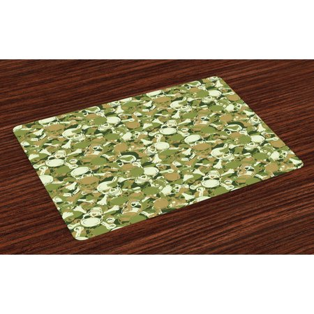 Camo Placemats Set of 4 Sketchy Skulls and Crossbones Warning Sign Spooky Scary Horror Tile, Washable Fabric Place Mats for Dining Room Kitchen Table Decor,Pale Brown Green Pale Green, by Ambesonne