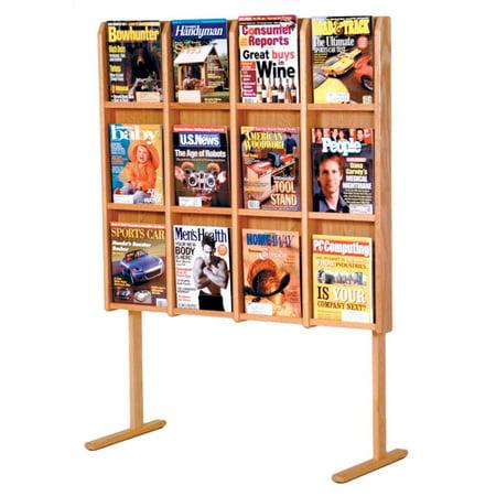 - 12-Magazine Floor Display in Light Oak Finish