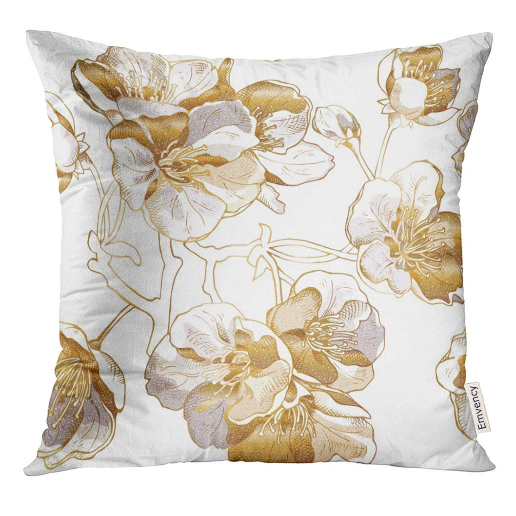 USART Silver Metal with Light Gold Cherry Flowers Japanese Pillow Case 20x20 Inches Pillowcase