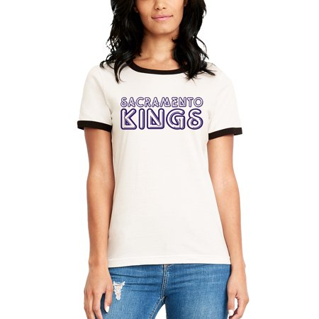 Sacramento Kings Women's Foil Applique Ringer T-Shirt - White - Sacramento Costume Shops
