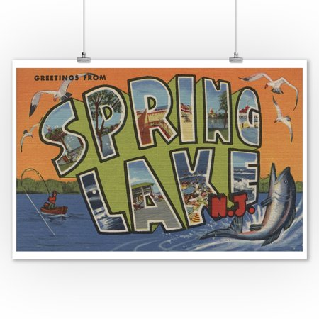 Jersey Letter - Spring Lake, New Jersey - Large Letter Scenes (9x12 Art Print, Wall Decor Travel Poster)