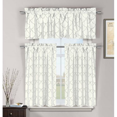 White 3 Pc Kitchen Window Curtain Set: Faux Silk, Metallic Raised Pin Dots Fish Scale Design (Scale Window)