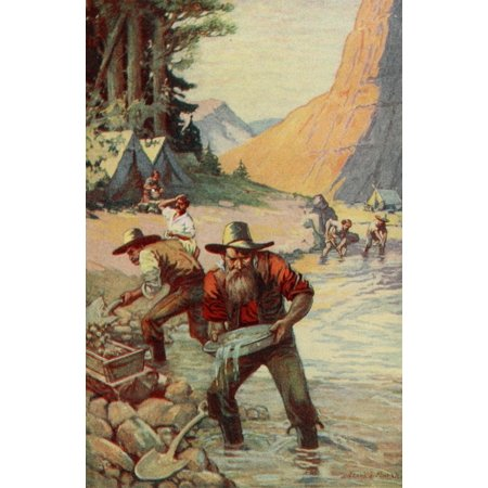 School History of the United States 1918 Forty-niners panning for gold in California Canvas Art - Unknown (18 x 24)
