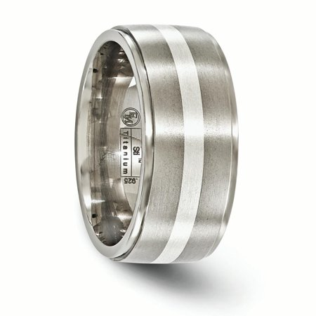 Edward Mirell Titanium Brush&Polished w/Sterling Silver 10mm Band Size 10 - image 1 of 4
