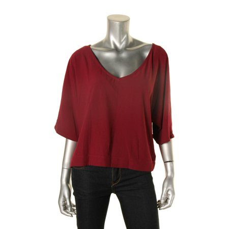 Cupcakes and Cashmere Womens V-Neck Blouse Red