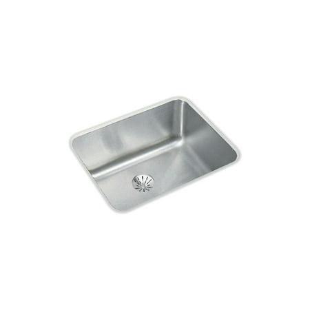 Bowl Gourmet Sink - Elkay ELUH1814PD Gourmet Lustertone Stainless Steel Single Bowl Undermount Sink Kit