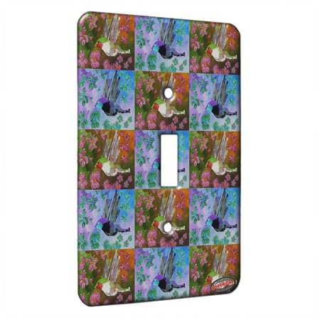 Humminbird Switch - KuzmarK™ Single Gang Toggle Switch Wall Plate - Ruby Throated Hummingbird with Pink Clematis Bird Pattern Art by Denise Every