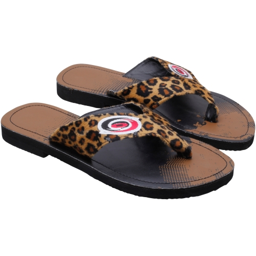 Carolina Hurricanes Women's CHeetah Strap Flip Flops by For Bare Feet