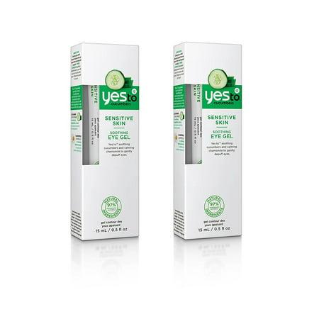 Yes To Cucumbers Sensitive Skin Soothing Eye Gel, 0.5 Oz (Pack of 2) + Makeup Blender Sponge