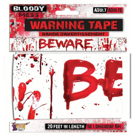 Forum Halloween Scary Horror Bloody Handprints 20' Party Tape, White Red - Halloween Party Scary Food Ideas