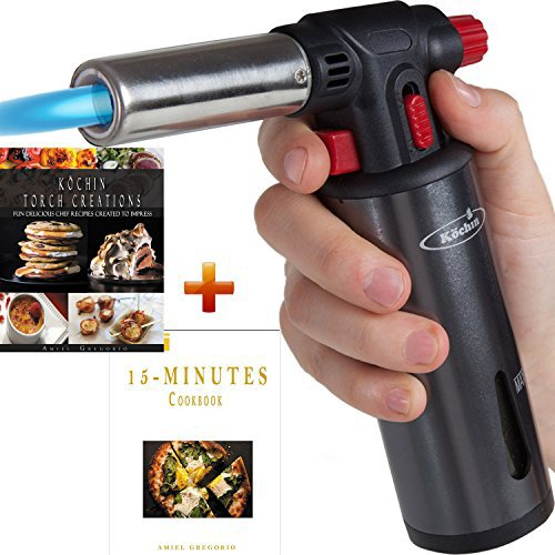 Culinary Torch Lighter, Kitchen Creme Brulee Cooking, Professional Chef Food Blow Torch, Butane Gas Fuel Gauge