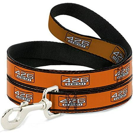 - Dog Leash - 6-FEET - 426 HEMI Badge Stripes Weathered Orange Black White 6' X 1.0