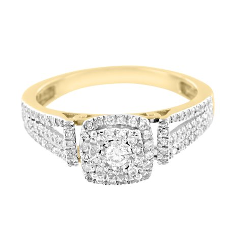 10k Gold Diamond Solitaire Ring - Solitaire Wedding Engagement Ring Solitaire Real Diamonds 10k Yellow Gold 0.40 Ct