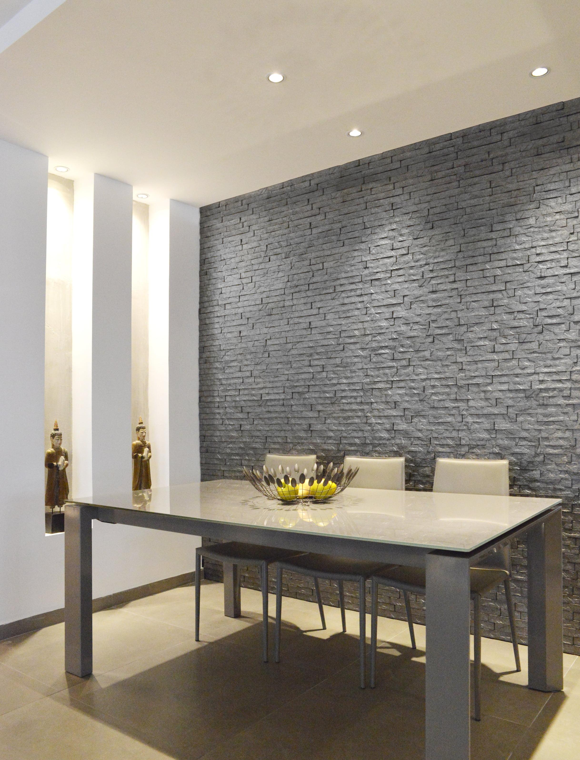 Living Room Wall Design: Interlocking Design For TV