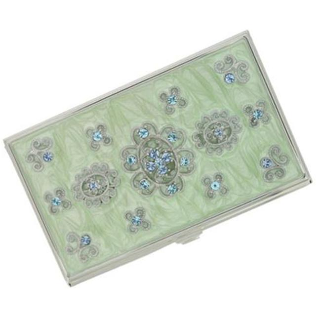 Meira Light Green Marble and Blue Crystals Business Card Case