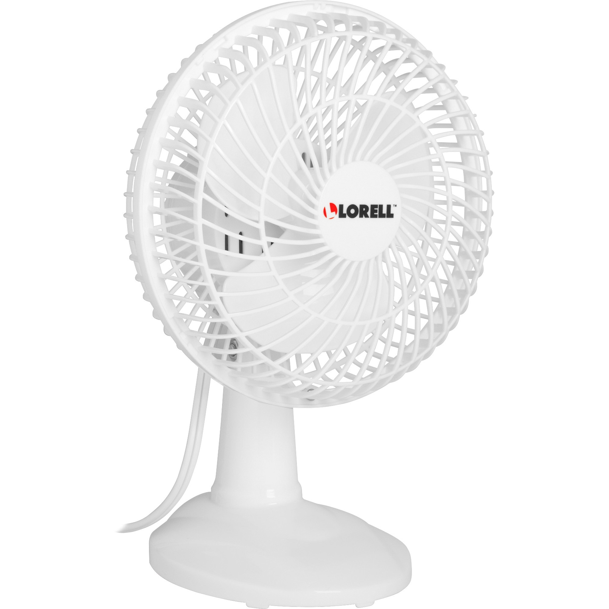 "Lorell, LLR49257, 6"" Two Speed Tilt Plastic Desk Fan, 1 Each, White"