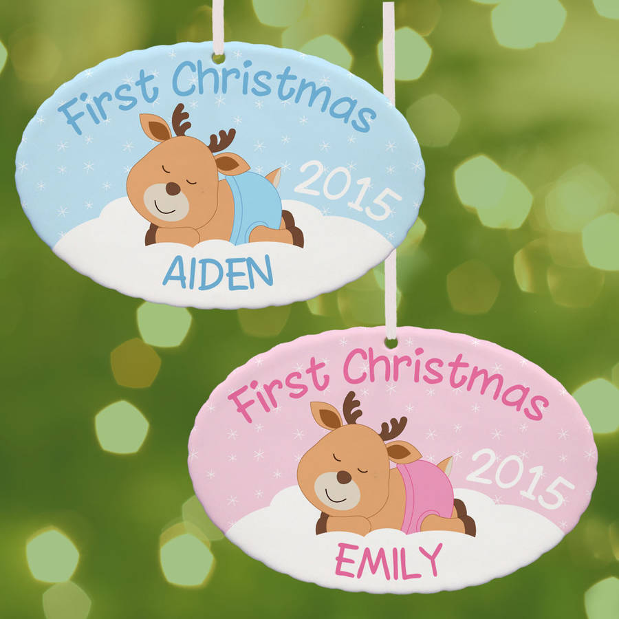 Personalized First Christmas Baby Reindeer Oval Ornament