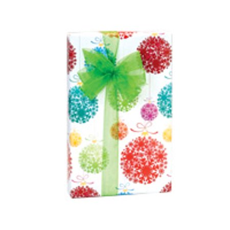 Red Blue and Green Snowflake Ornaments Holiday /Christmas Gift Wrapping Paper 16ft