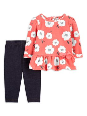 Child of Mine by Carter's Toddler Girls Long Sleeve Peplum Top & Leggings, 2-Piece Outfit Set (Sizes 2T-5T)