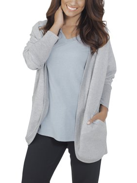 Fruit of the Loom Womens Athleisure Essentials French Terry Cocoon Comfort Wrap Cardigan