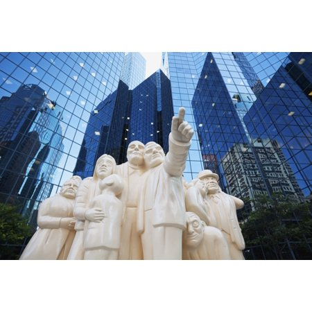 Sculpture The Illuminated Crowd In Front Of Bnp Tower Montreal Quebec Canada Posterprint