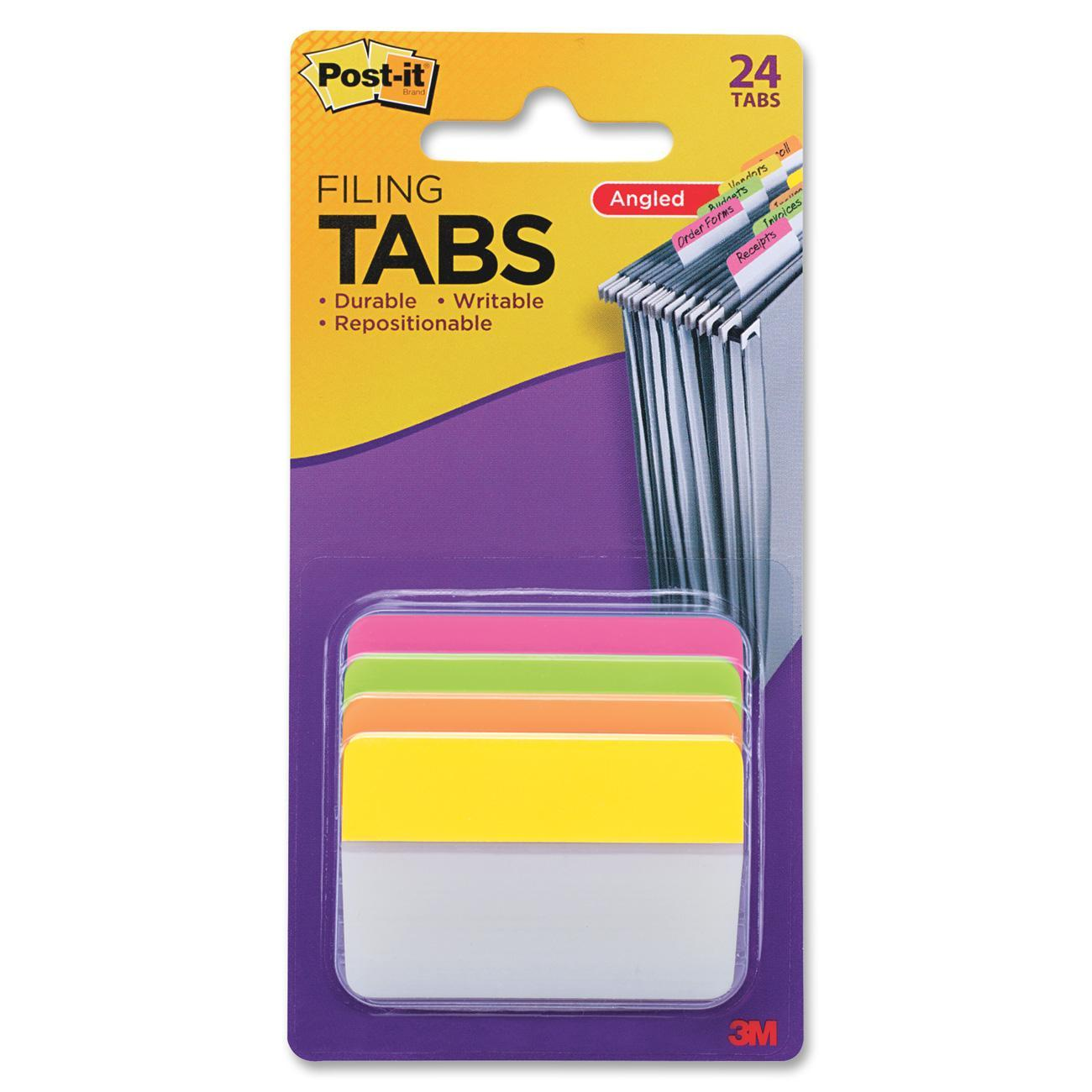 Post-it®, MMM686APLOY, Repositionable Filing Angle Tabs, 24 / Pack