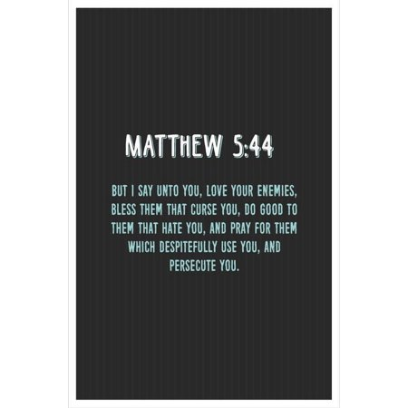 JSC617 Matthew 5:44 Bible Verse Poster Blue Words | 18-Inches By 12-Inches  | Motivational Inspirational Educational Religious | Premium 100lb Gloss
