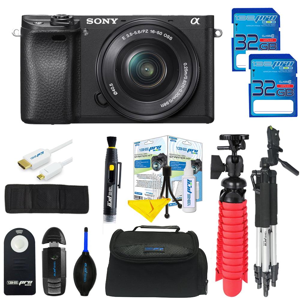 Sony Alpha a6300 Mirrorless Digital Camera with 16-50mm + 55-210mm Lenses + SD Card + Tripod + Pixi Advanced Bundle Kit