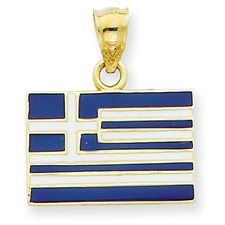Flag Pendant Photo Dog Tag (14k Solid Enameled Greece Flag)