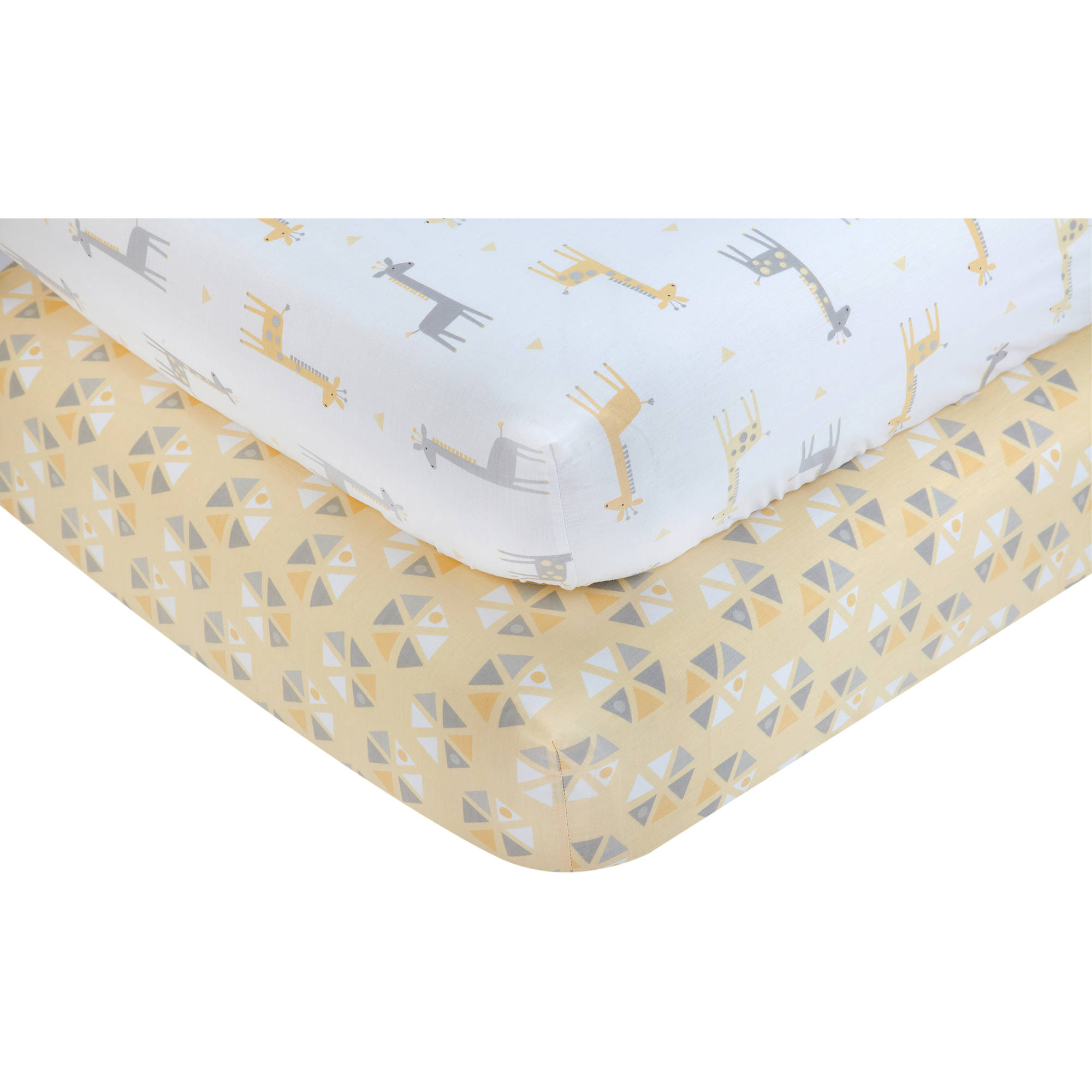 Little Love by NoJo Set of 2 Giraffe Time Yellow Crib Sheets