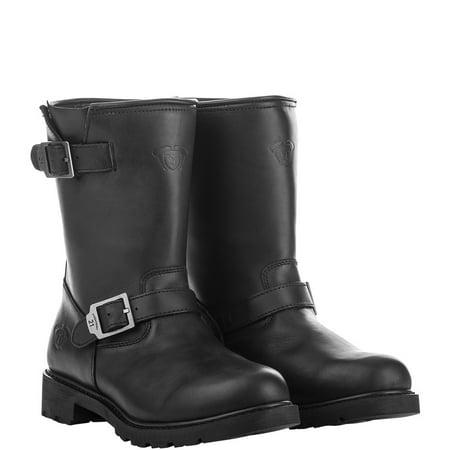 Highway 21 Primary Engineer Men's Low Motorcycle Boots Full Grain Leather Waterproof Black Size