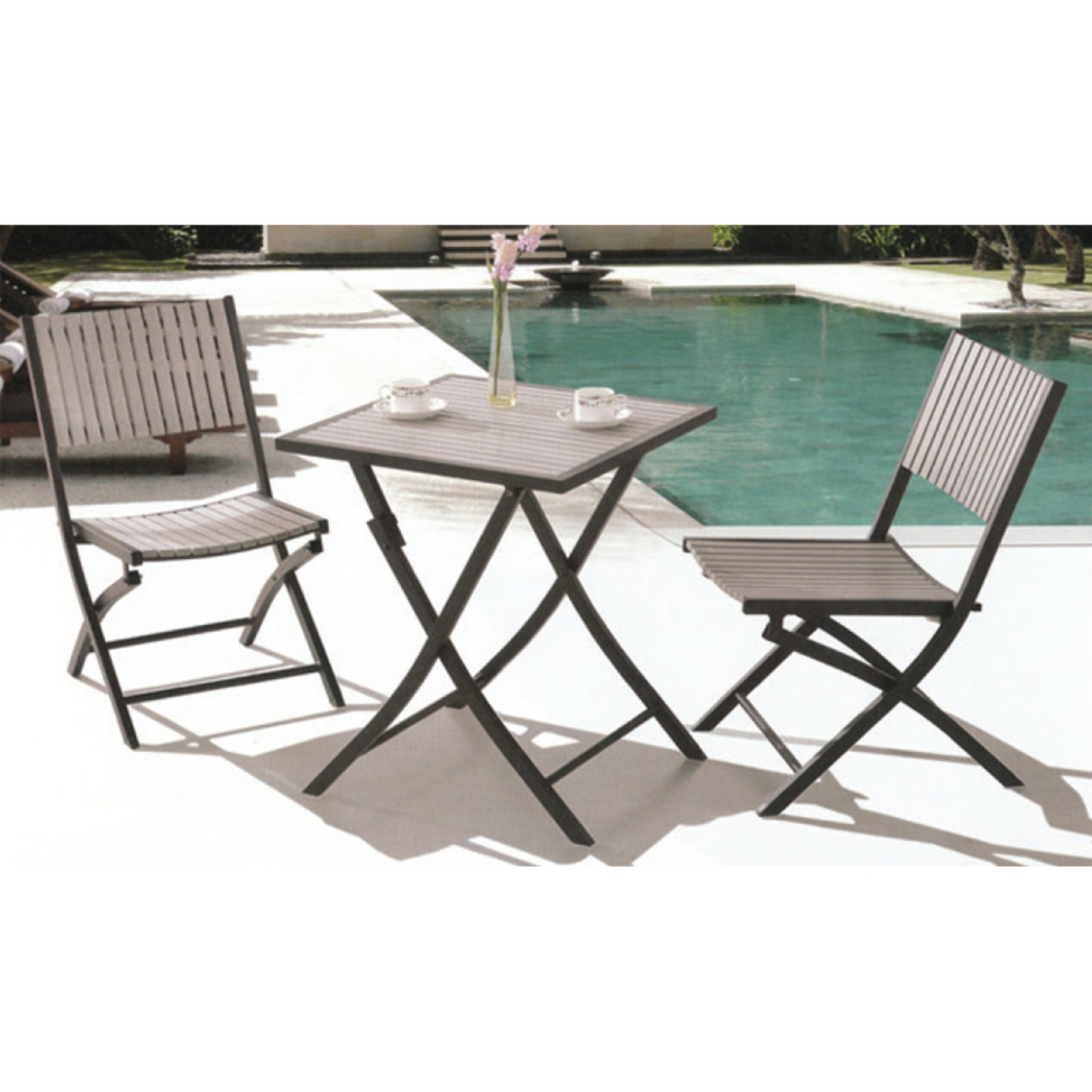Square Bistro Table Set   Grey
