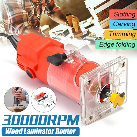 """220V 300W 30000RPM 1/4"""" 6.35mm Electric Woodworking Hand Trimmer Router Edge Wood Laminate Palm Router Joiners Tool Woodworking"""