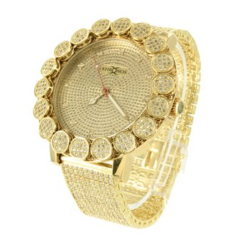 Mens Khronos Diamond Watch Large Bezel Iced Tray Band Lab Created Cubic Zirconia Gold Tone New