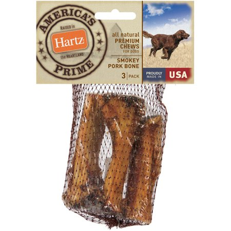 Hartz 12359 All Natural Premium Chews Smokey Pork Bone For Dogs 3 Count