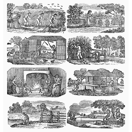 Seasons On A Farm C1830 Nwood Engravings American From The Farmers Almanac By Alexander Anderson C1830 Poster Print By Granger Collection