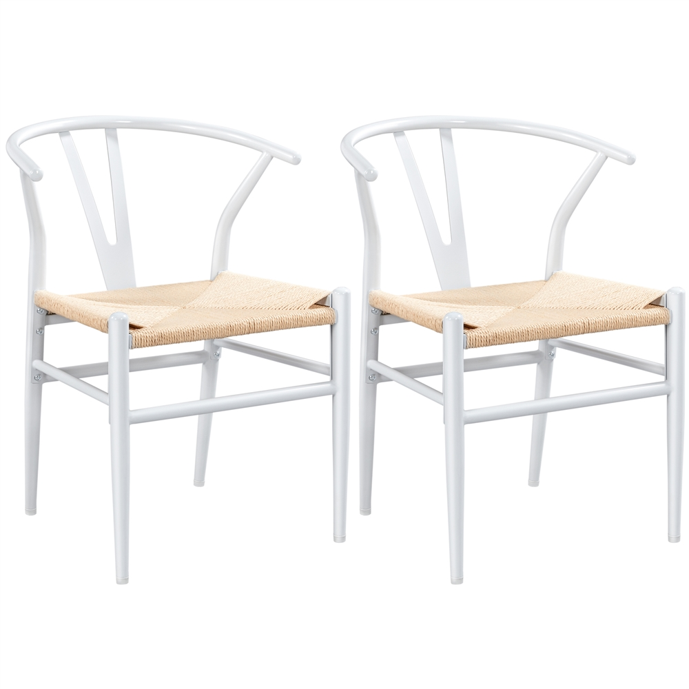 SmileMart Mid-Century Metal Dining Chairs with Woven Hemp Seat