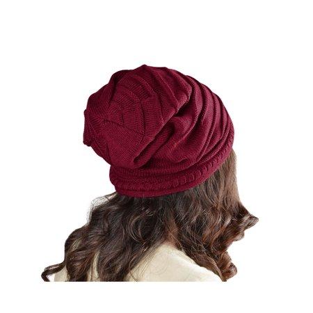 Beanie Hat for Women by Zodaca Unisex Winter Knit Baggy Beret Oversized  Fashion Warm Ski Cap - Red - Walmart.com 8133cf8444ac