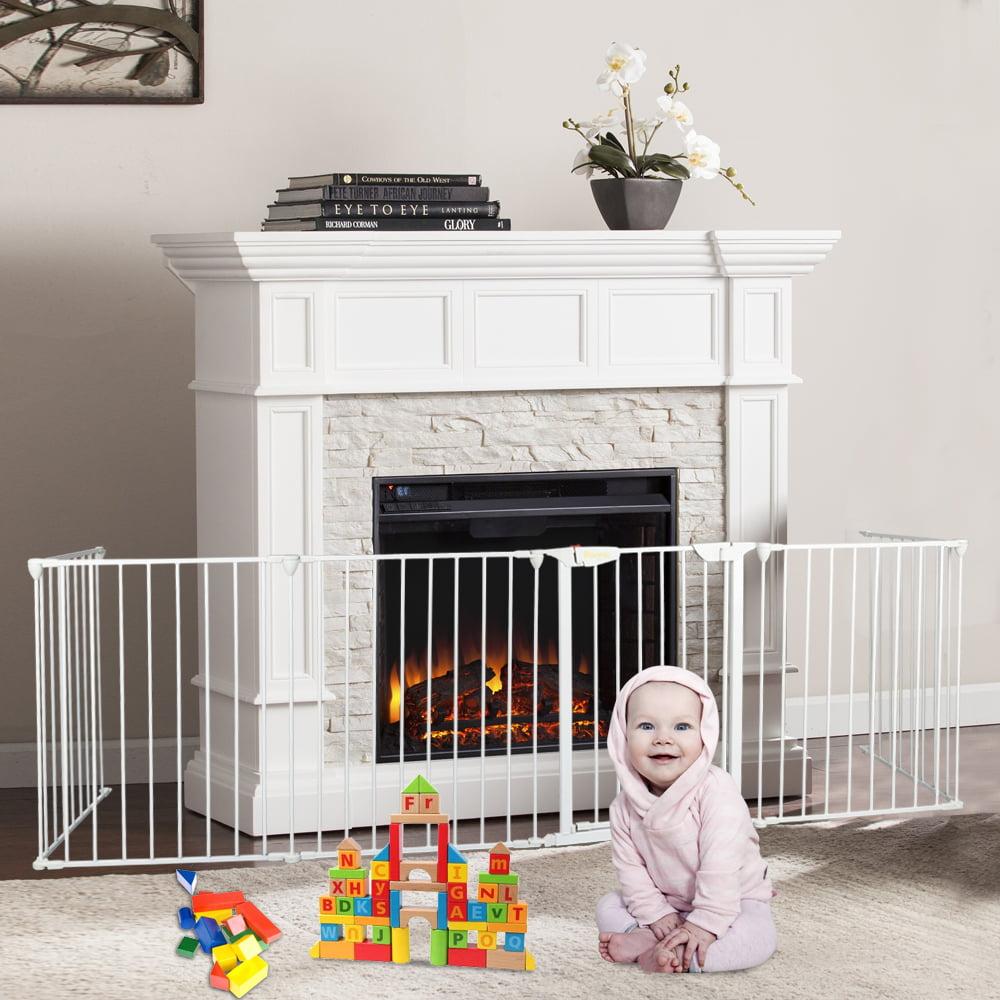Bonnlo 6 Panel Installed Baby Playpen Play Yard Safety Kids Infants Home Indoor Outdoor Playard 6 Panel Baby Fence With Door