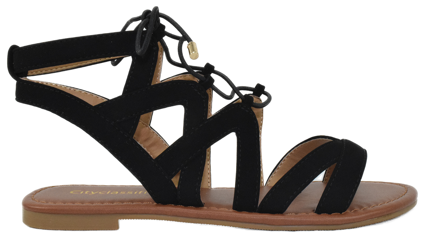 Details about  /City Classified Women Gladiator Criss-Cross Cut Out Sandals Lace Up Tan CONVOY-S