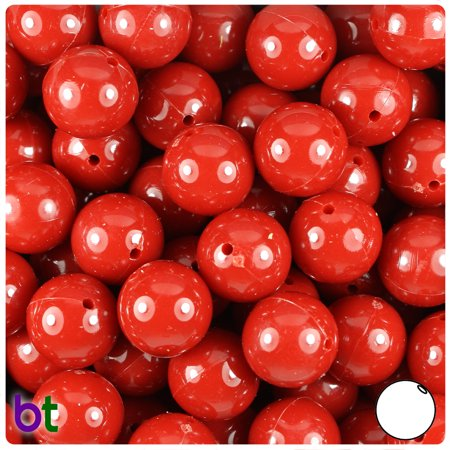 BeadTin Red Opaque 14mm Round Plastic Beads (36pcs)