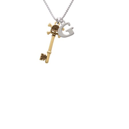 Goldtone Antiqued Beaded Skull Key Capital Initial G Necklace