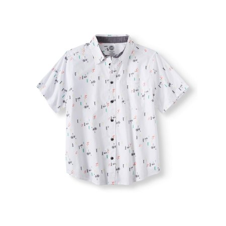 Wonder Nation Short Sleeve Stretch Button Up Printed Shirt (Little Boys, Big Boys, &