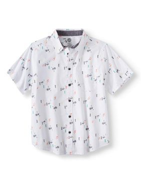 b1be47876 Product Image Short Sleeve Stretch Button Up Printed Shirt (Little Boys,  Big Boys, & Husky