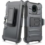 For Samsung Galaxy J3 2018/ J3 Achieve/ J3 Star/ Amp Prime 3/ Express Prime 3/ J3V 3rd Gen. /J337 Image Case Phone Case Clip Holster 2 Kickstands Hybrid Shockproof Bumper Cover Black