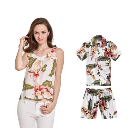 Matching Mother Son Hawaiian Luau Outfit Tank Top and Shirt in Cream Rafelsia Women M Boy 4