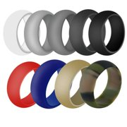 Odoland Silicone Wedding Ring for Men and Women, 2mm Wide for Women and 9mm Wide for Man Wedding Ring with Delicate Stylish ,  9 Packs