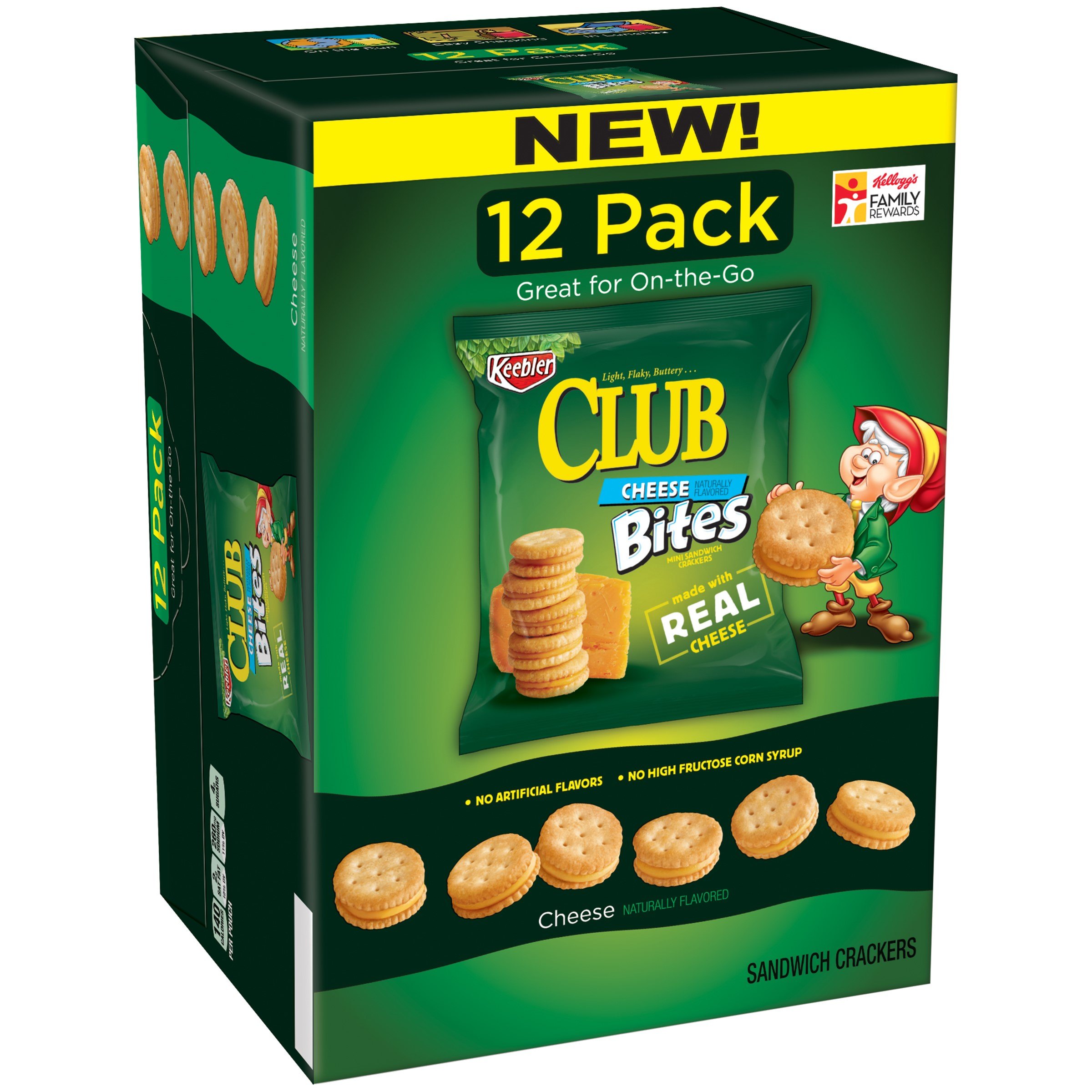 Keebler Club Bites Sandwich Crackers, Cheddar Cheese, 12 Ct