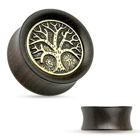 Ebony Saddle (Earrings Rings Organic Ebony Wood Saddle Tunnel Tree of Life Top 9/16'' )