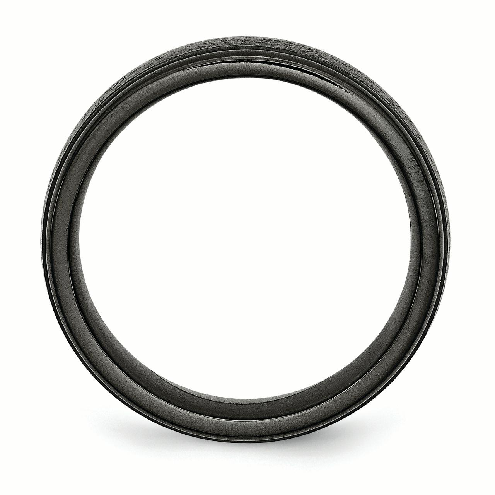 Titanium Black TI Hammered Ridged Edge 7mm Brushed Band